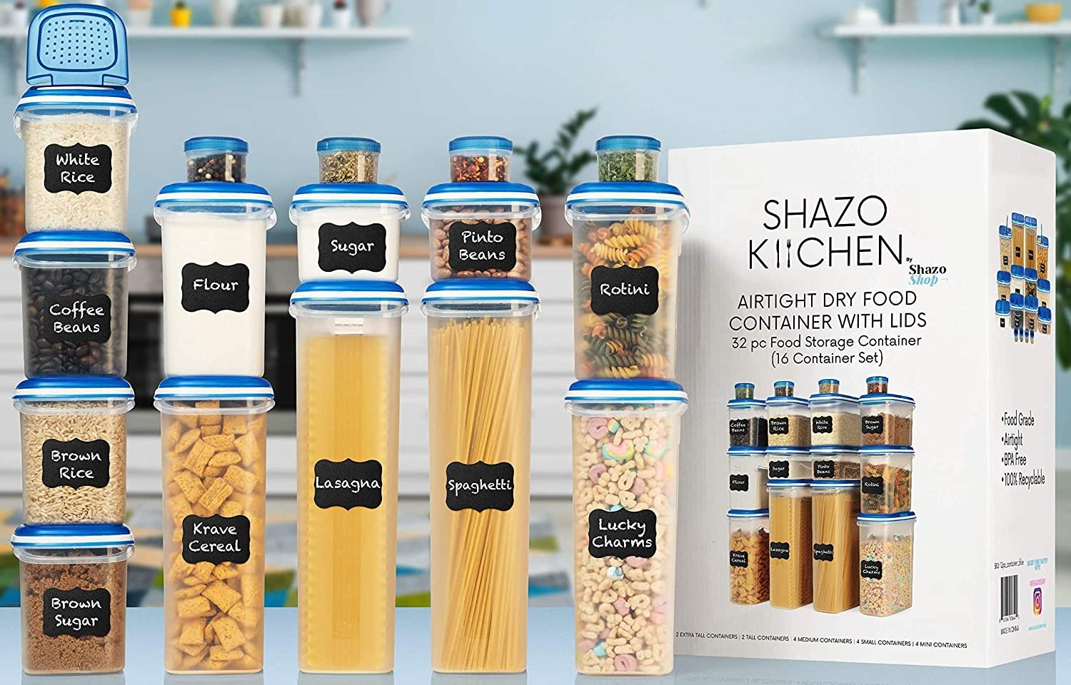 Shazo 32 pc (16 Container Set) Airtight Food Storage Containers with Lids