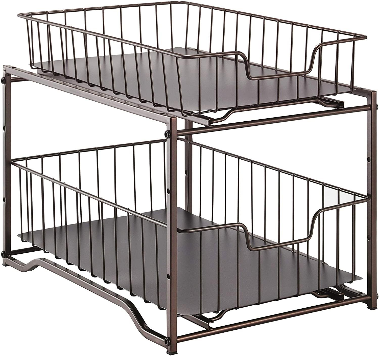 Simple Trending 2-Tier Stackable Kitchen Organizer Cabinet Storage (Bronze, Sliding Drawer)