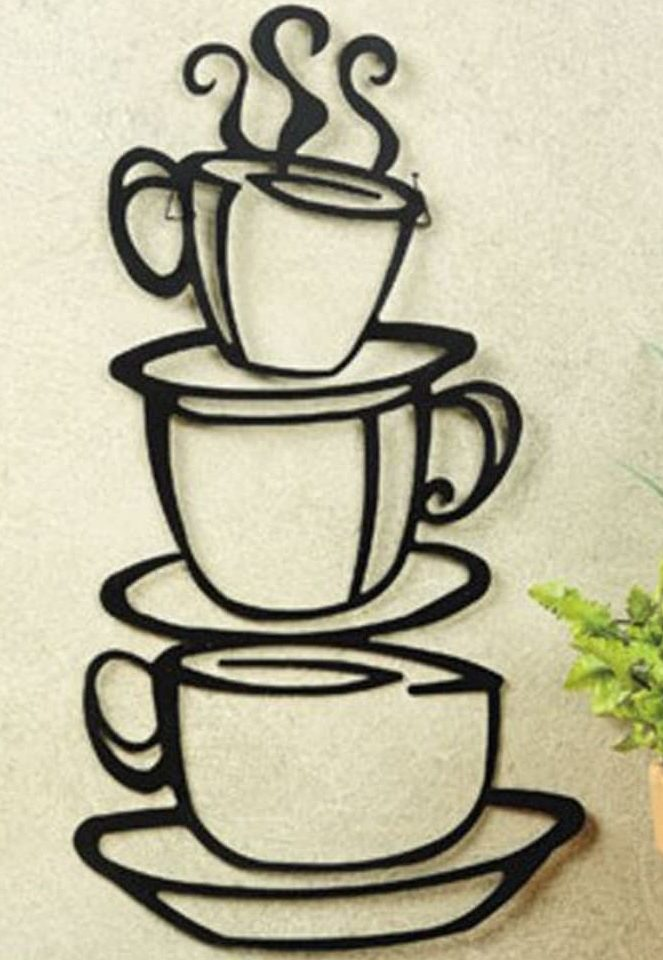 Super Z Outlet Black Metal Wall Art Coffee Cup Silhouette for Beautiful Small Kitchen Ideas
