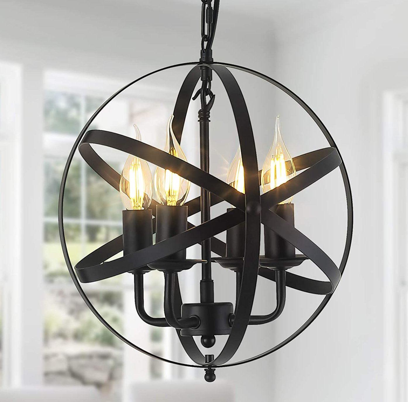 4-Light Hanging Spherical Rustic Pendant Light