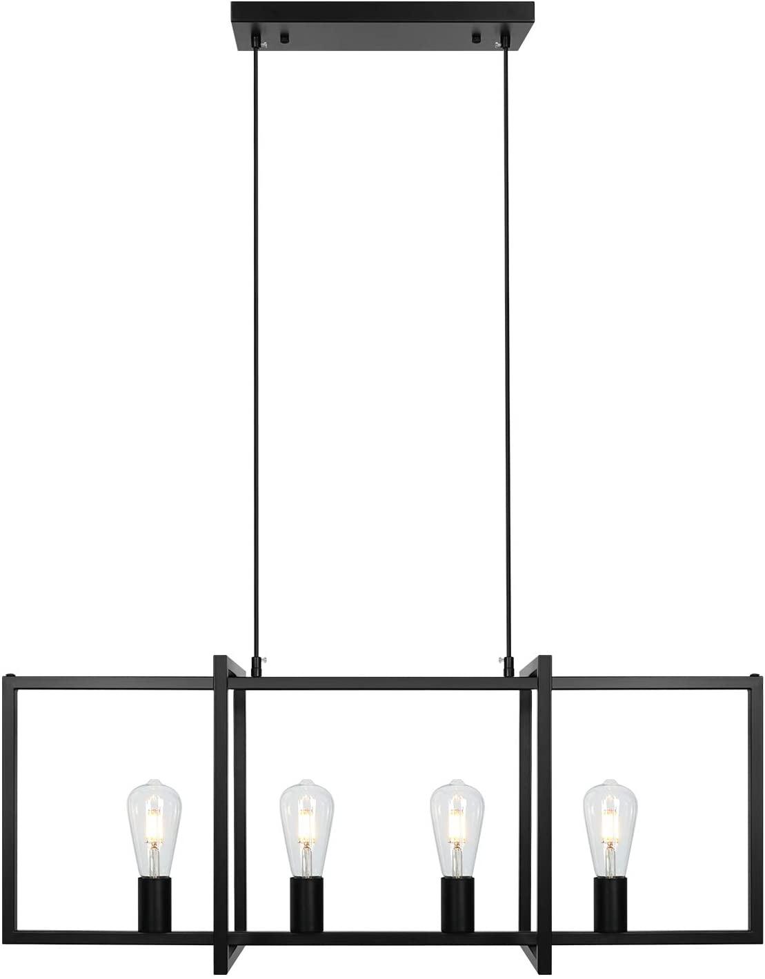 4-Light Modern Black Chandelier Industrial Farmhouse Kitchen Lighting
