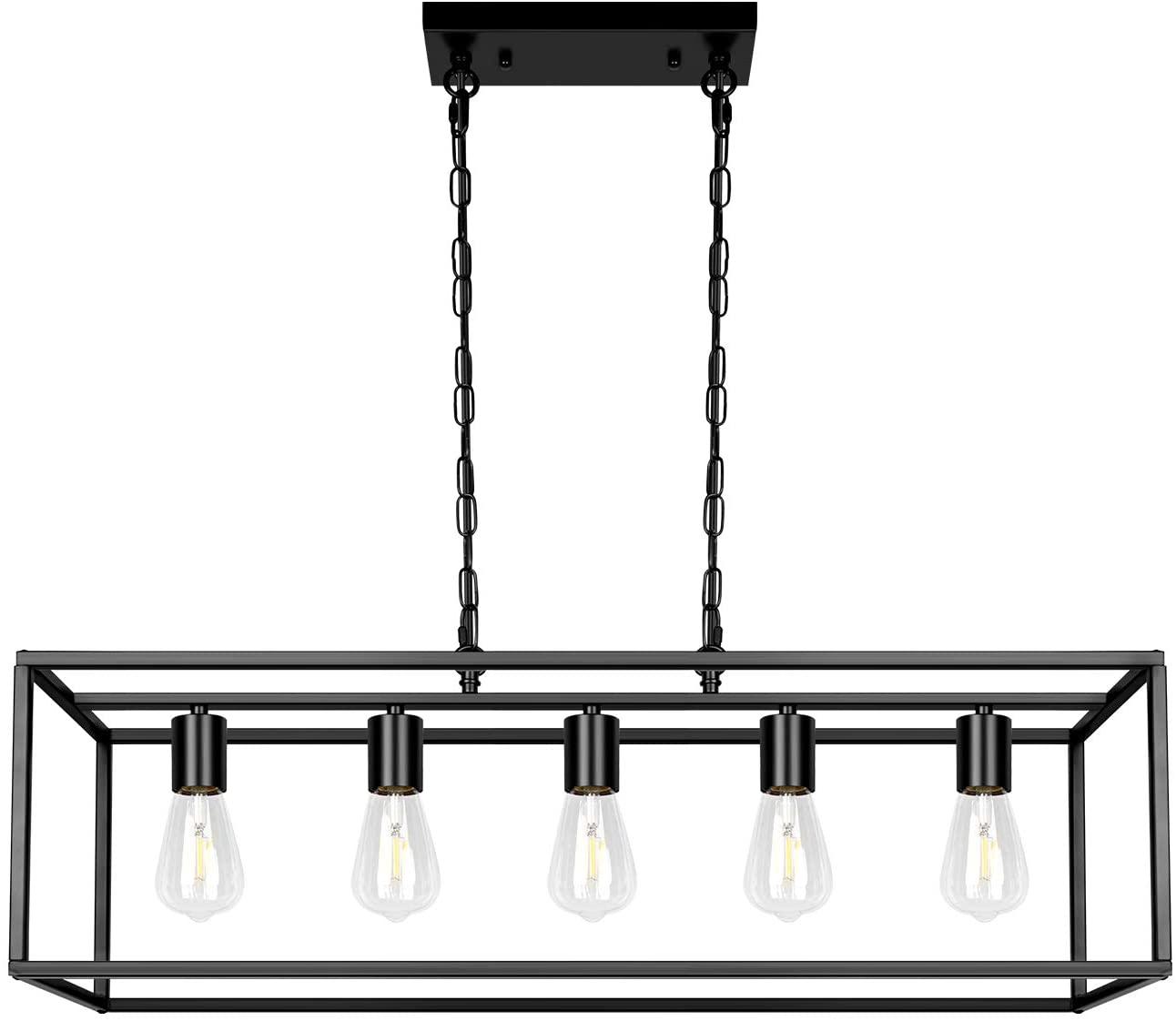 5-Light Black Farmhouse Rectangular Light Fixtures