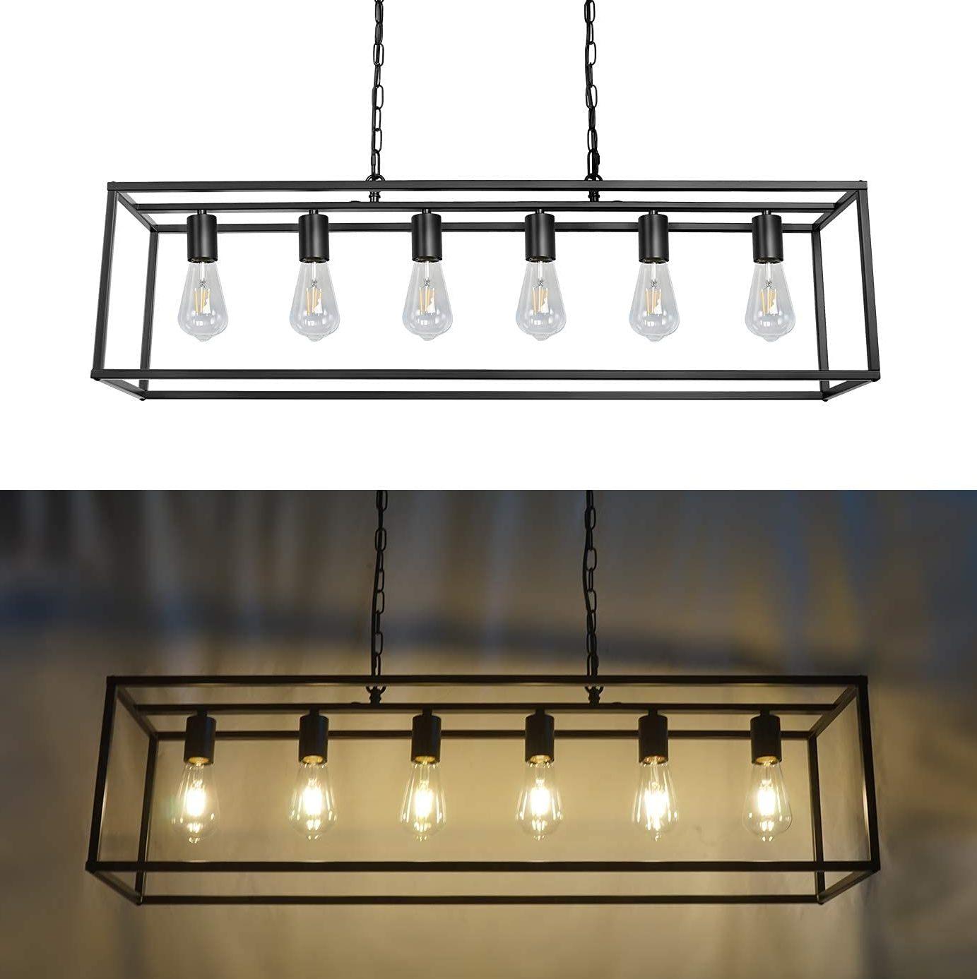6-Light Modern Black Farmhouse Industrial Chandelier Light Fixtures