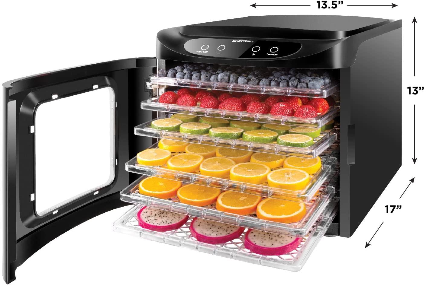 Chefman Touch Screen Electric Food Dehydrator Machine (Black)