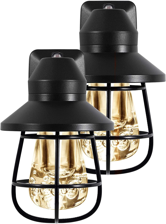 GE Vintage Rustic LED Night Light in Black Cage (2 Pack, 44737)