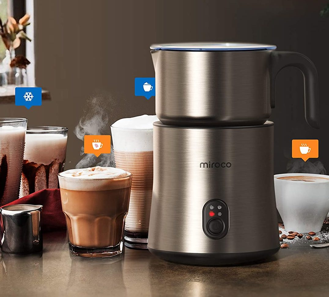 Miroco Electric Stainless Steel Milk Steamer and Frother with Hot & Cold Foam Function