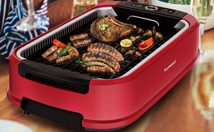 Techwood 1500W Indoor Smokeless Grill with Tempered Glass Lid (Red)