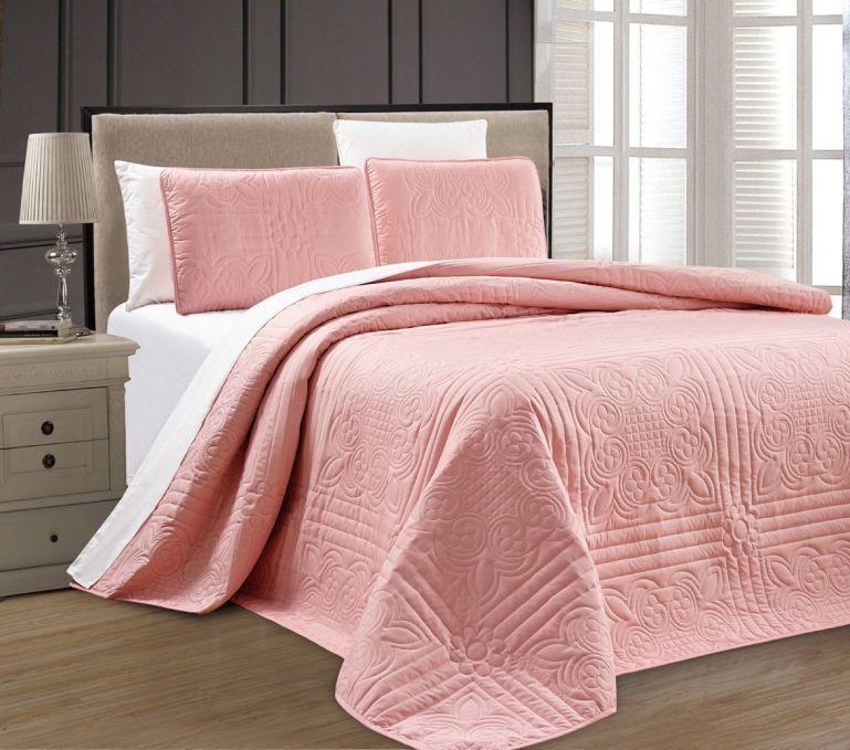 3-Piece Oversize Stella Grande Pink Bedspreads QUEEN