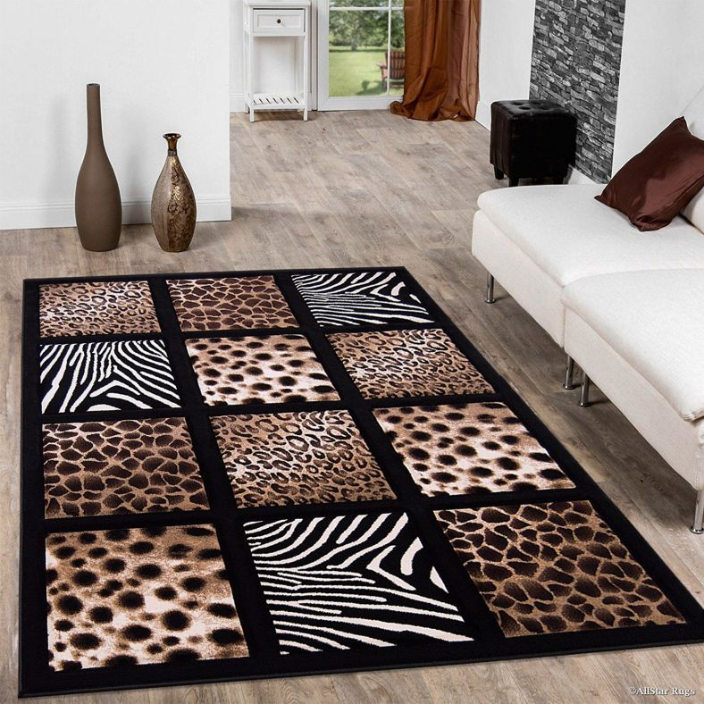 Allstar Black Dots Square Animal Prints Design Modern Geometric Area Rug