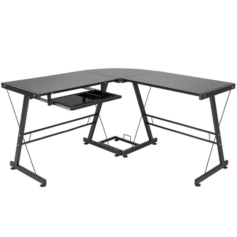 Best Choice Products Glass L-Shape Black Computer Desk PC