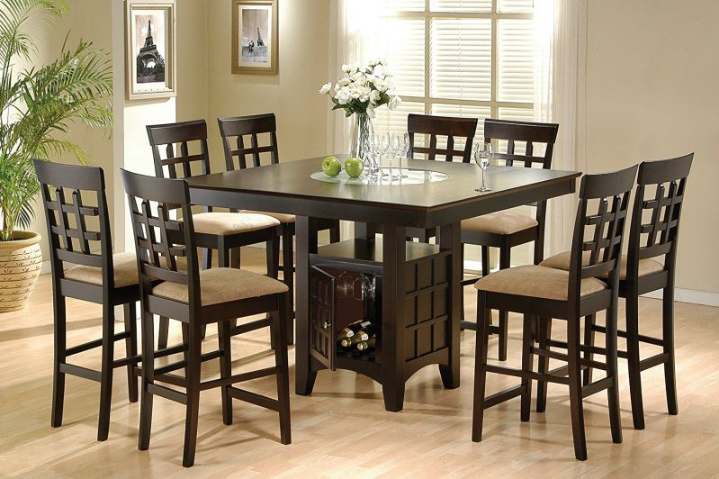 Coaster Home Furnishings 9 Piece Counter Height Storage Dining Table