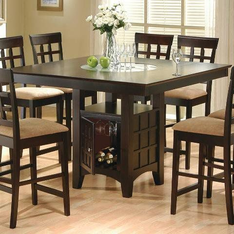 Coaster Hyde Counter Height Square Dining Table with Storage Base in Cappuccino (Table only)