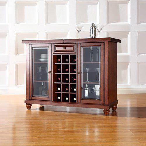 Crosley Cambridge Sliding Top Bar Cabinet, Vintage Mahogany Finish