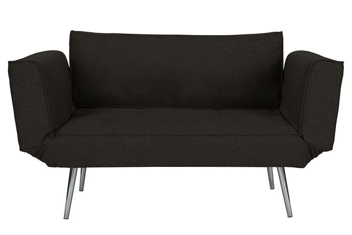 DHP Euro Sofa Futon Loveseat with Chrome Legs and Adjustable Armrests - Black