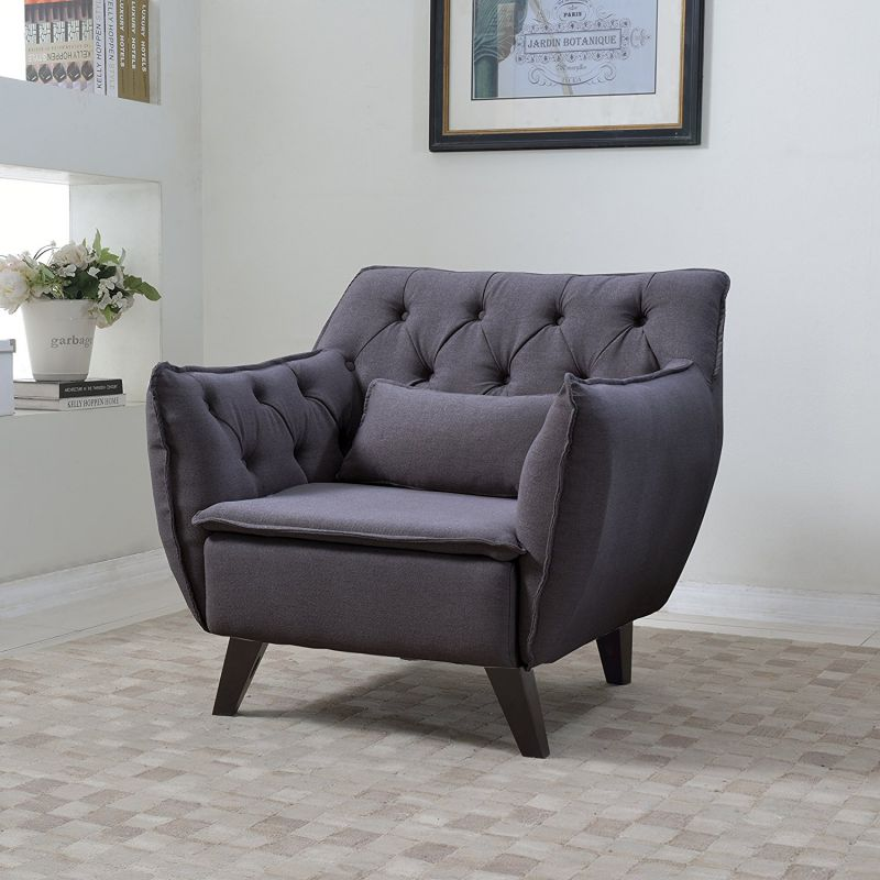 Divano Roma Furiture Mid Century Modern Tufted Linen Fabric Living Room Accent Chair in Colors Dark Grey