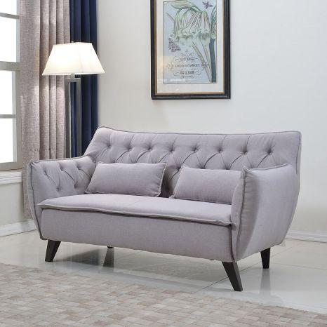Divano Roma Furniture Light Grey Mid Century Linen Fabric Loveseat