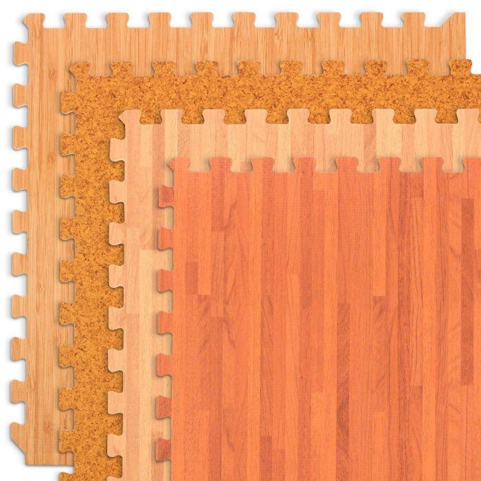 FOREST FLOOR Wood Grain, Cork Grain and Bamboo Grain Interlocking Foam Anti Fatigue Flooring
