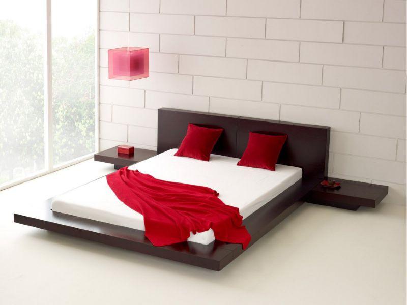 Fujian Modern Platform Bed + 2 Night Stands King