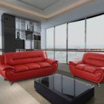 GTU Furniture Contemporary Bonded Leather Sofa & Loveseat Set