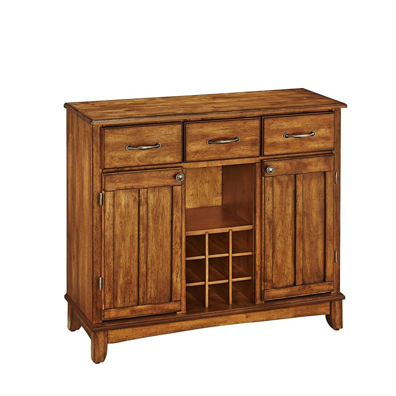 Home Styles 5100-0066 Buffet of Buffets Cottage Oak Wood Top Buffet Server