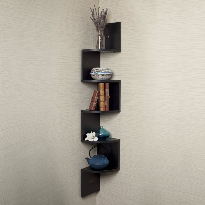 Houseables Corner Wall Book Shelf, 5 Tier