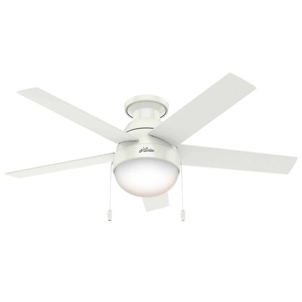 Hunter Fan Company 59269 Anslee Low Profile Fresh White Ceiling Fan With Light