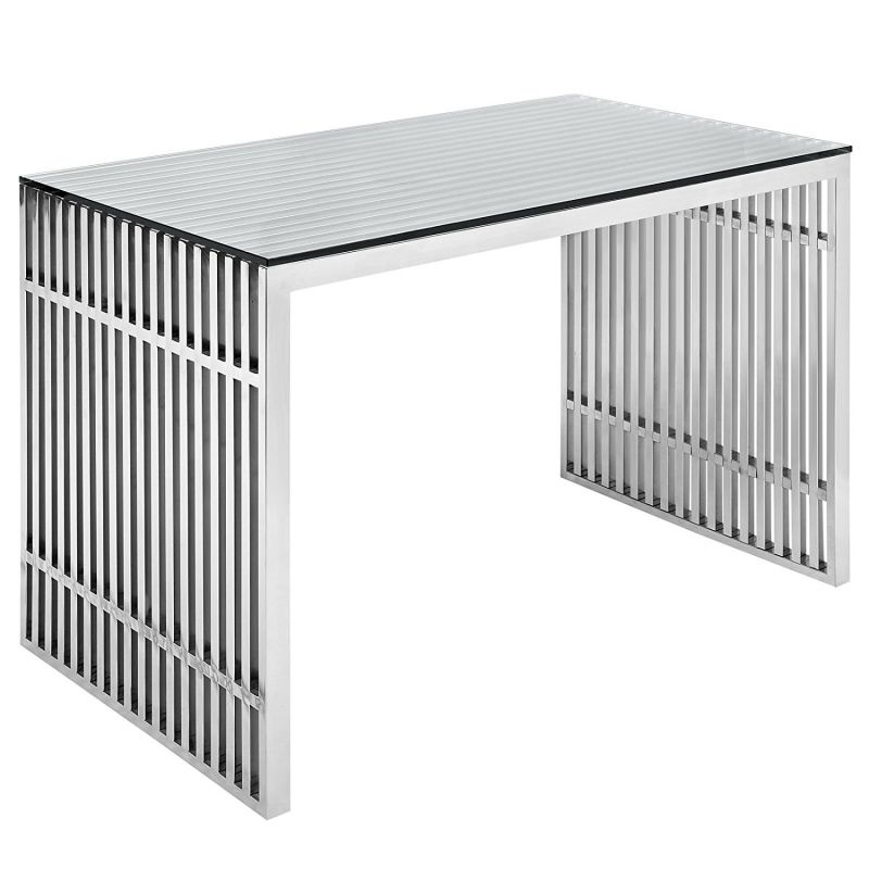 LexMod Gridiron Stainless Steel Office Desk in Silver