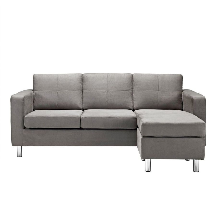 Modern Microfiber Light Grey Small Space Sectional Sofa with Reversible Chaise