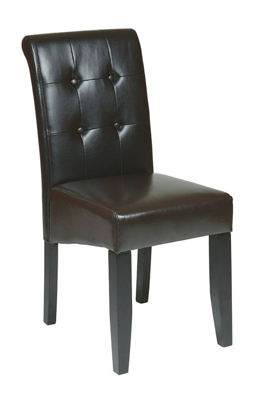 Office Star Metro Bonded Leather Parson's Button-Back Espresso Accent Dining Chair
