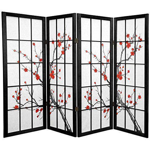 Oriental Furniture 4 ft. Tall Cherry Blossom Shoji Screen - Black - 4 Panels