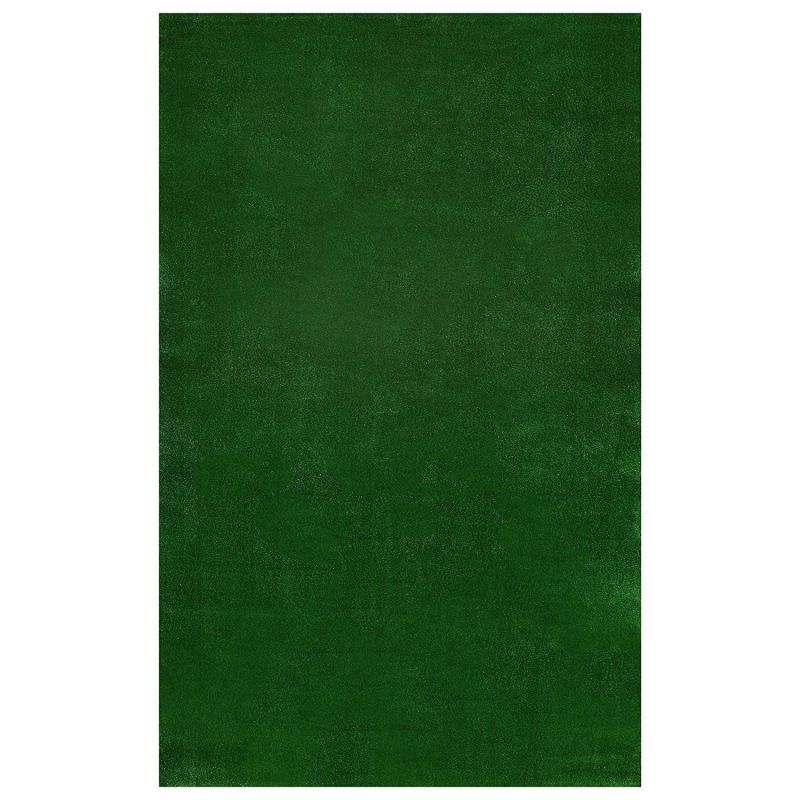 Ottomanson Evergreen Collection Indoor Outdoor Green Artificial Grass Turf Solid Design Area Rug