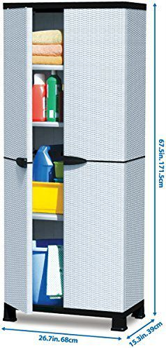Plascoline Madera 3-Shelf Plastic Utility Storage Cabinet with Doors and Floor Risers