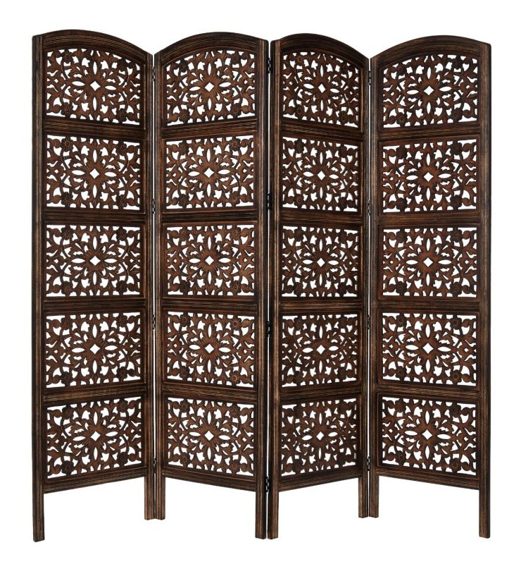 Rajasthan Antique Brown 4 Panel Handcrafted Wood Room Divider Screen
