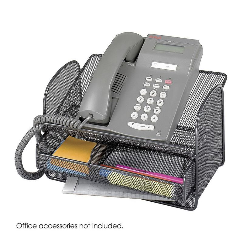 Safco Onyx Mesh Telephone Stand With Drawer