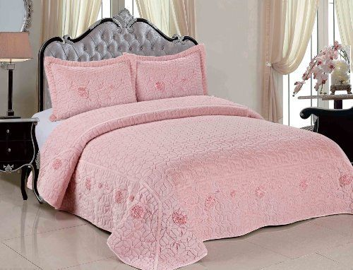 Serenta Faux Fur Ribbon Embroidered 3 Piece Microfiber Bedspread Quilt Set, Queen, Light Pink