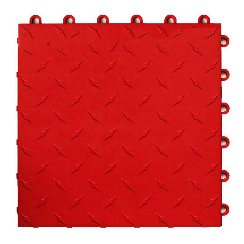 Speedway Garage Tile Interlocking Garage Flooring 6 LOCK Diamond Tile Red