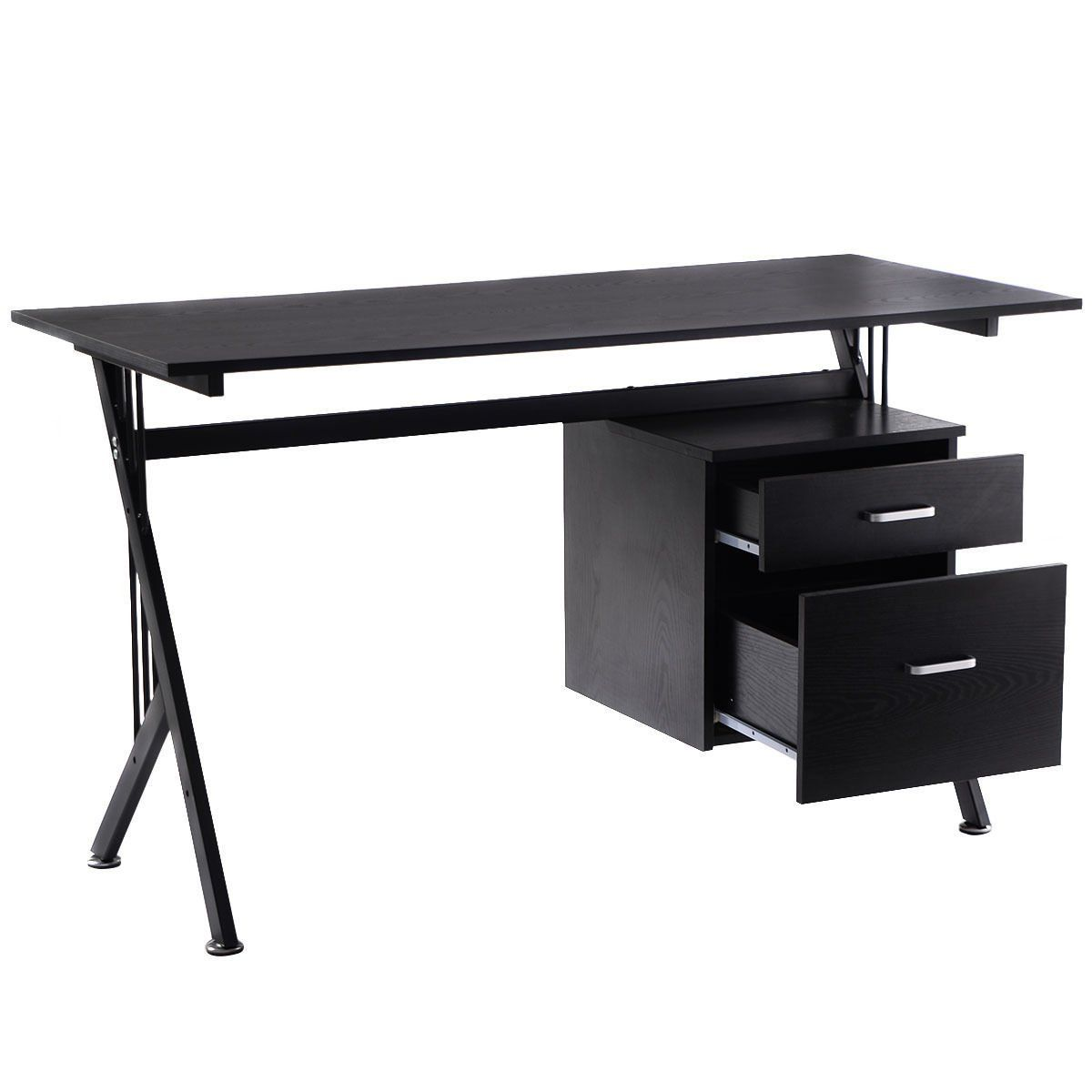 Tangkula K-Frame Wood Laptop Writing Table Computer Desk Workstation Home Office Black