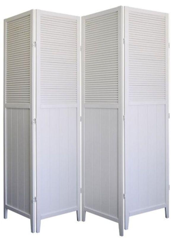Wood Shutter Door 4-Panel Room Divider, WHITE