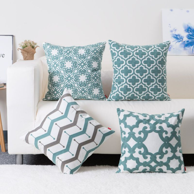 baibu Cotton Teal Embroidery Pattern Decor Throw Pillow Case