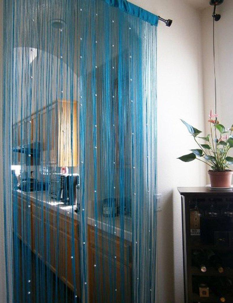 1m x 2m Door String Curtain Rare Flat Silver Ribbon Thread Fringe Window Panel Room Divider Cute Strip Tassel for Wedding Coffee House Restaurant Parts