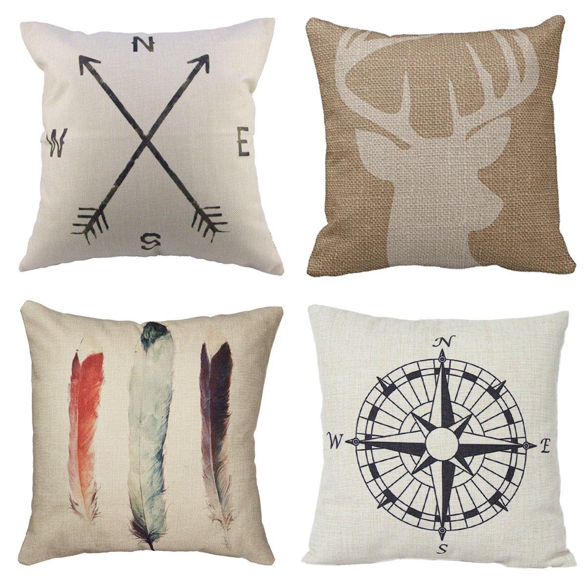 4 Packs Hippih Cotton Linen Sofa Home Decor Design Throw Pillow Case Cushion Covers 18 X 18 Inch ,1x Deer Antlers + 1x Feathers + 1x Compass + 1x Navigation Compass