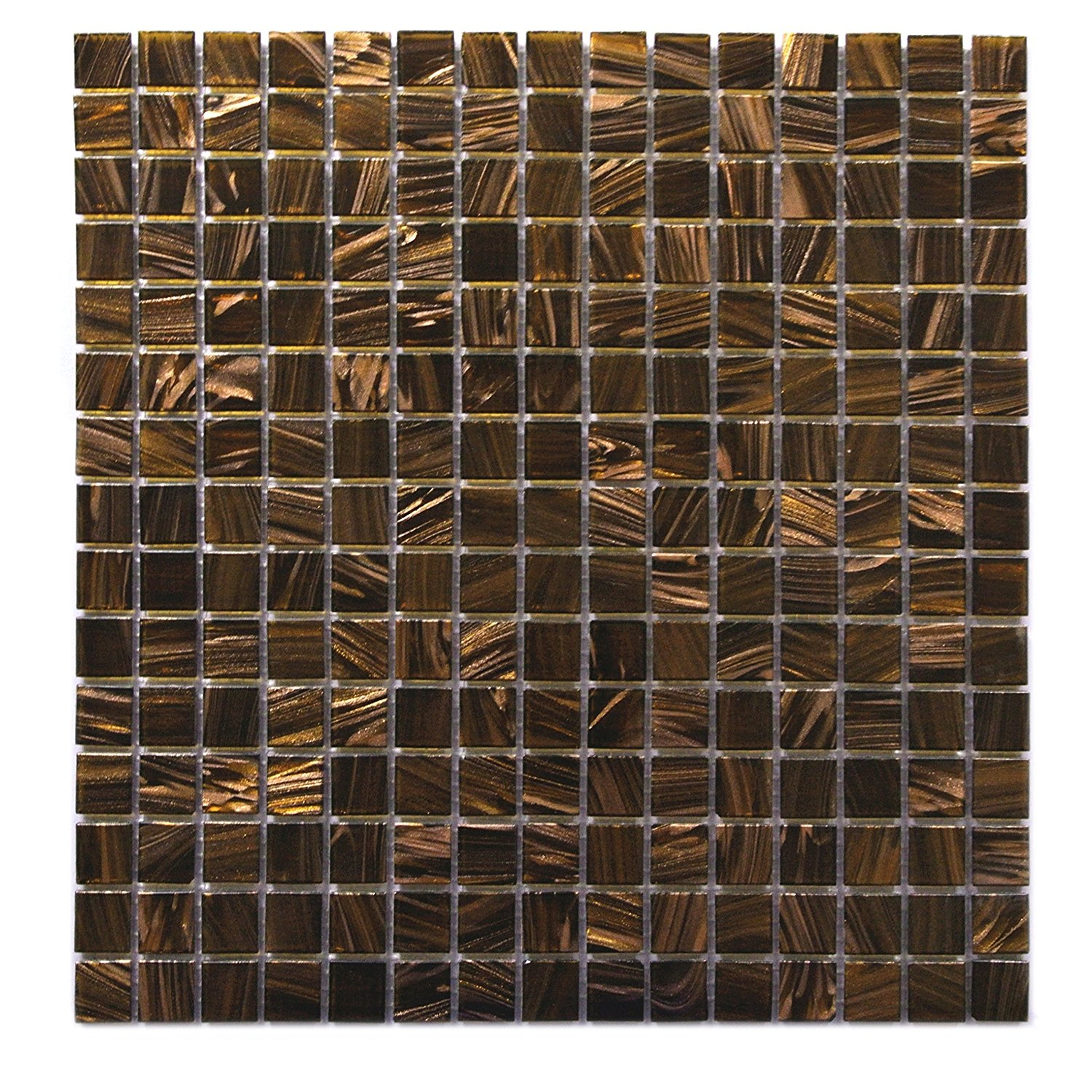 Abolos WHSVEN3434-BN Stone & Glass Mosaic Tile, Bathroom Wall Kitchen Backsplash, 5 Sheets/Box, Shimmering Brown