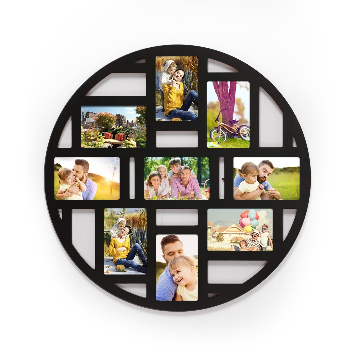 """Adeco Decorative Old China Themed Black Wood Round Circular Circle Wall Hanging Prints Artwork Picture Photo Collage Frame, 9 Divided Openings 4x6"""""""