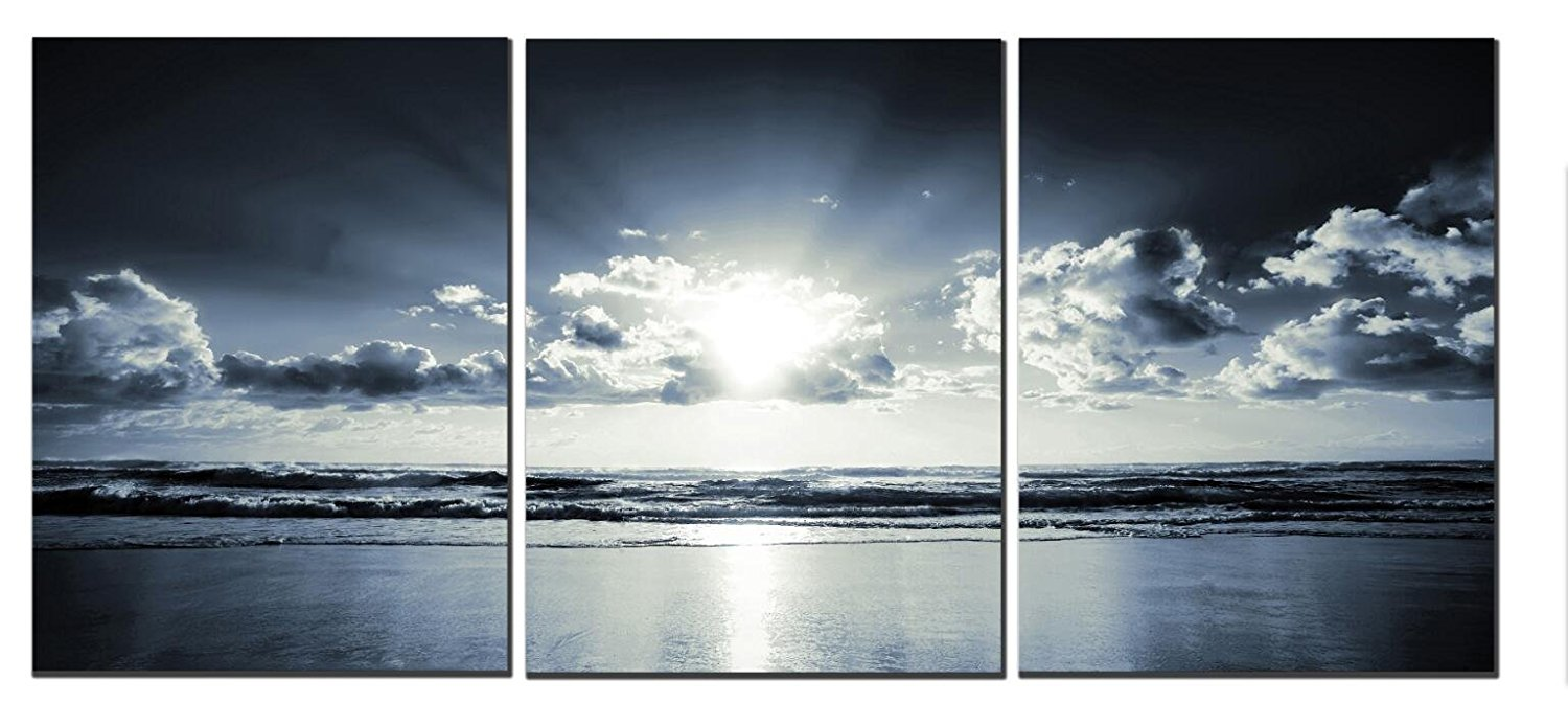 Amoy Art -The Black White Sea Sunset Canvas Wall Art Landscape Canvas Prints for Home Decorations Ready to Hang Set of 3 Panels (12x16inx3)