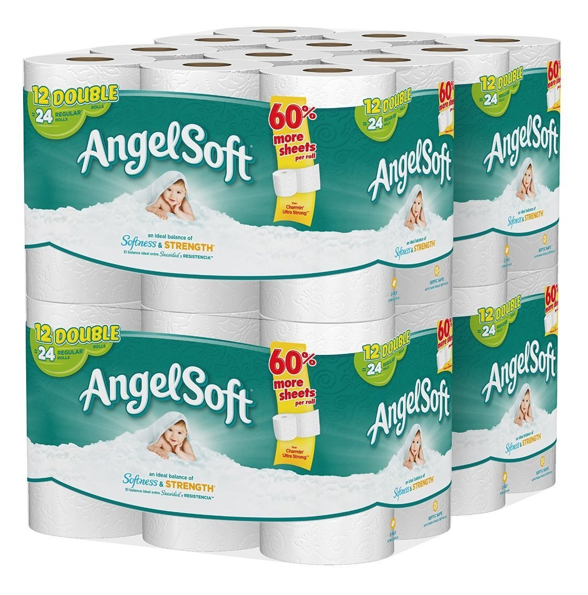 Angel Soft Toilet Paper, 48 Double Rolls, Bath Tissue (Pack of 4 with 12 rolls each)