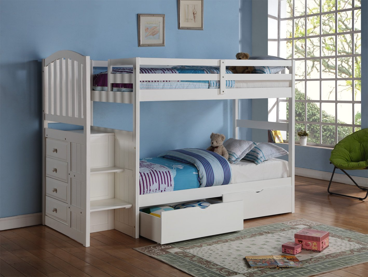 Arch Mission Stairway Bunk Bed in White with Built-in Chest and Under-Bed Drawers