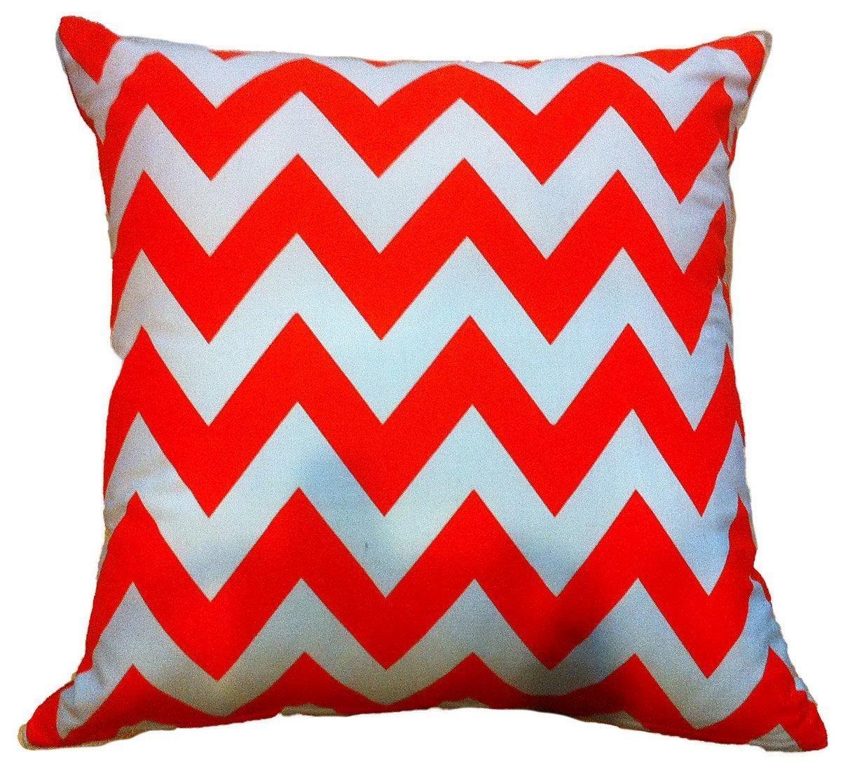 "Artiwa Contemporary Zig Zag Orange and White 18""x18"" Canvas Cotton Sofa Bed Throw Decorative Pillow Case, Gift Idea"