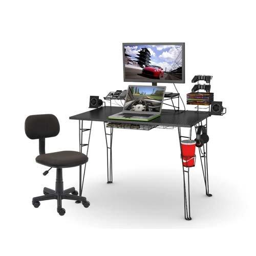 Atlantic Inc Gaming Desk and Task Chair Set in Black