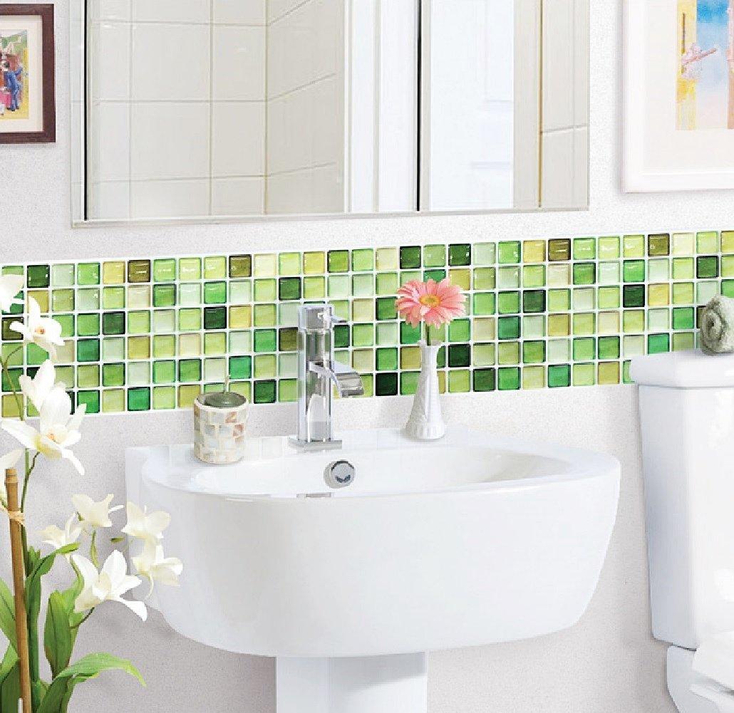 Beaustile 2 Sheets N Green Mosaic 3D Wall Sticker Home Decor Fire Retardant Backsplash Wallpaper Bathroom Kitchen DIY Design