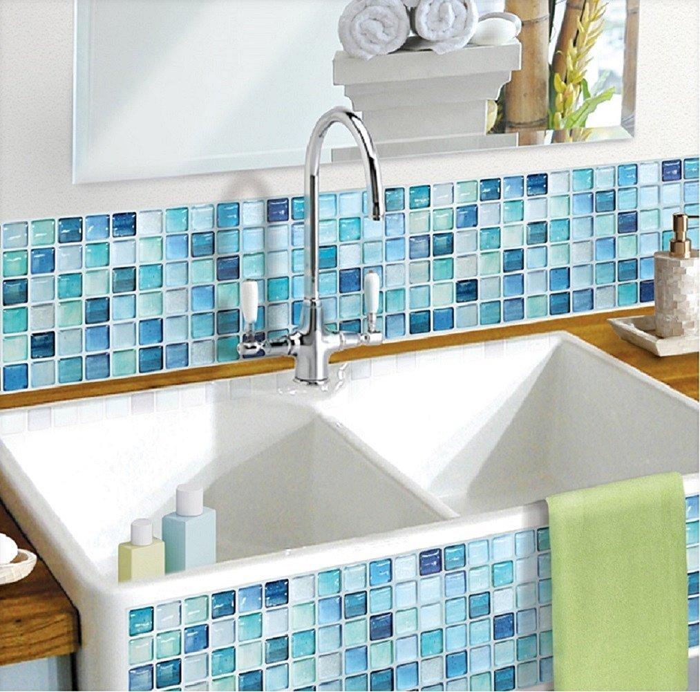Beaustile Mosaic 3D Wall Sticker Home Decor N-Blue Fire Retardant Backsplash Wallpaper Bathroom Kitchen DIY Plain Design